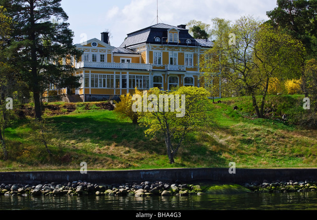 Waterfront mansion in Stockholms Skärgården (Stockholm Archipelago), Sweden - Stock Image
