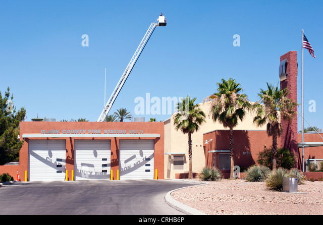 Clark County Fire Station 11 in Las Vegas with extended ladder with bucket - Stock Image