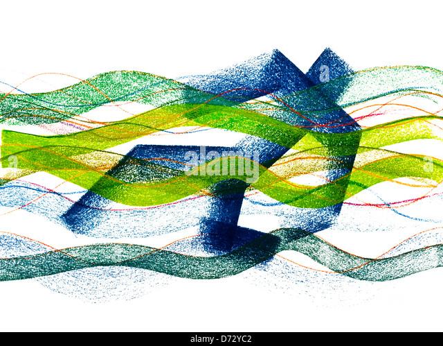 'Drowning Man' abstract pastel drawing illustration - artwork by Ed Buziak. - Stock Image