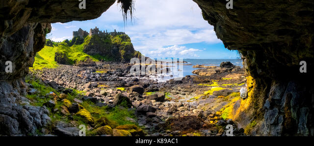 Dunluce Castle in Co. Antrim, Northern Ireland - Stock Image