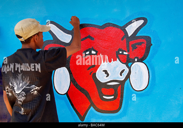Madagascar, Advertising painting for a famous French cheese brand called la vache qui rit (the laughing cow) - Stock Image
