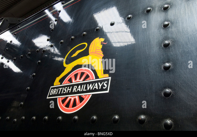 The British Railways 'Lion over Wheel' crest used in the 1950s. - Stock Image