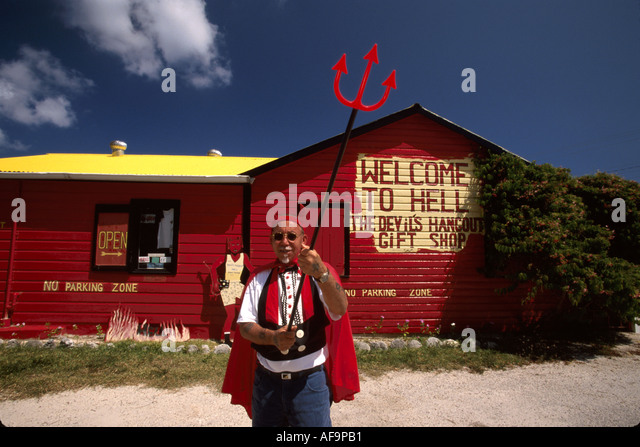 Grand Cayman BWI Hell Devil's Hangout Gift Shop Black male born and raised in Hell - Stock Image