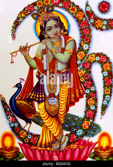 Krishna Playing Flute Hindu God - Stock Image