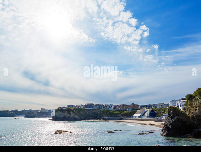 Newquay Bay viewed from the harbour showing the town and beaches, Newquay, Cornwall, England, UK - Stock Image