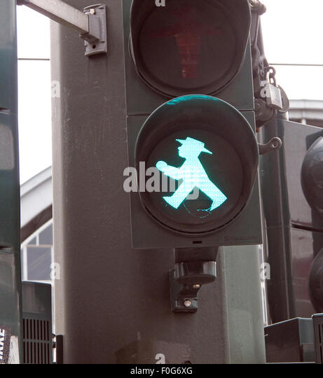 Berlin Green Ampelmann traffic crossing light - Stock Image