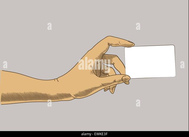 Hand holding business, credit card. Concept illustration in retro drawing style - Stock Image