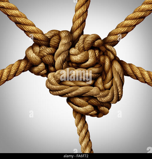 Creative process concept and creativity and the brain as a group of tangled ropes shaped as the human mind with - Stock-Bilder