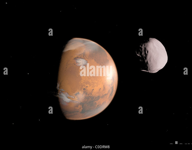 Artist's concept of Mars and it's moon, Dione. - Stock Image