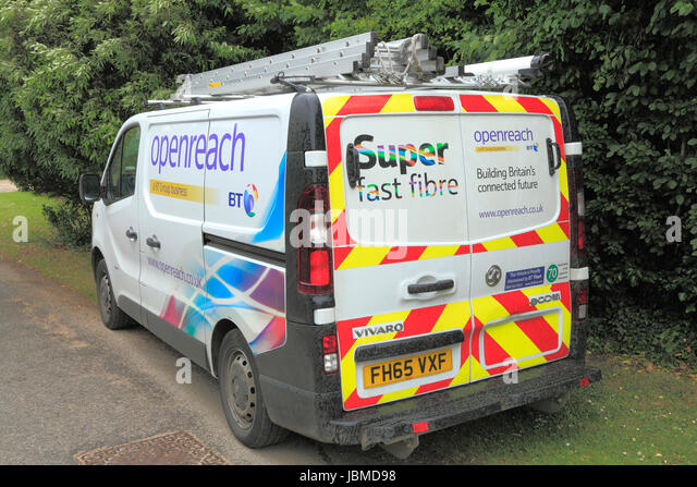 Open Reach, BT vehicle, van, 2015, Super Fast Fibre Broadband, British Telecom, England, UK - Stock Image