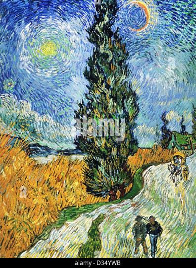 Vincent van Gogh, Road with Cypresses. 1890. Post-Impressionism. Oil on canvas. Rijksmuseum Kröller-Müller, - Stock Image