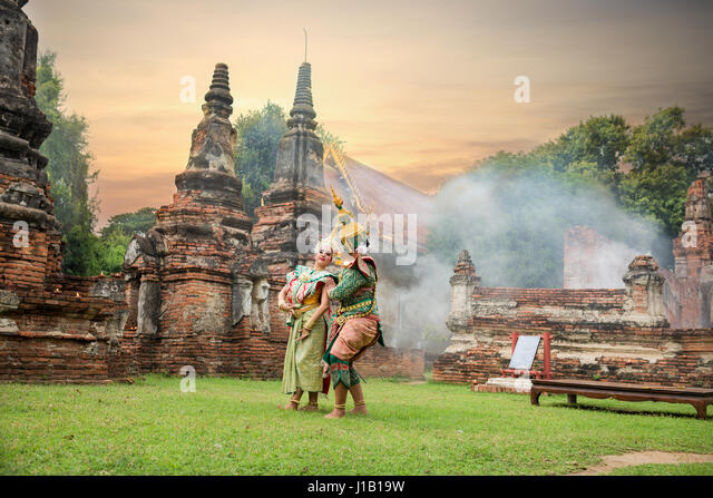 Tos-Sa-Kan  and Sida are characters in Thai literature on Ramayana. - Stock Image