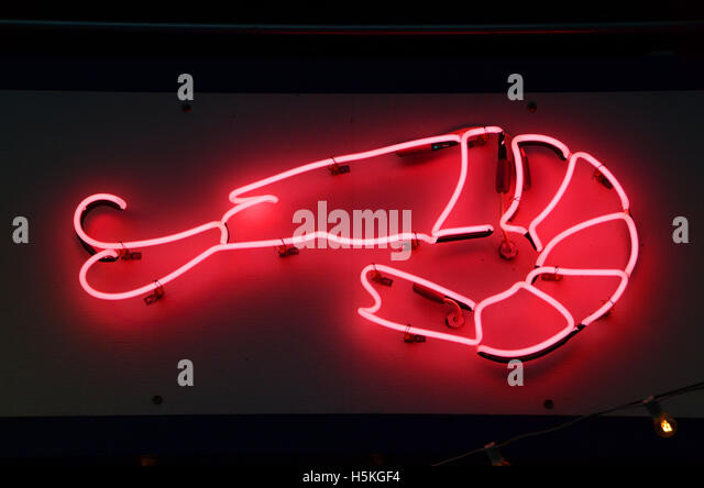 neon shrimp sign brooklyn new york usa simon leigh - Stock Image
