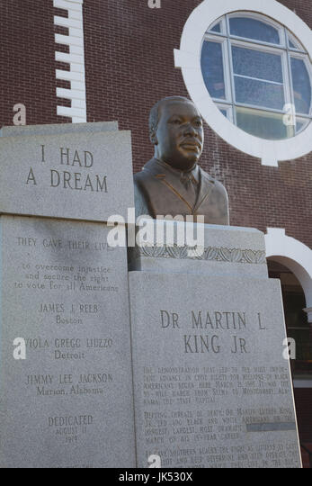 USA, Alabama, Selma, Brown Chapel AME Church, Civil Rights struggle site, bust of Rev. Martin Luther King, Jr. - Stock Image