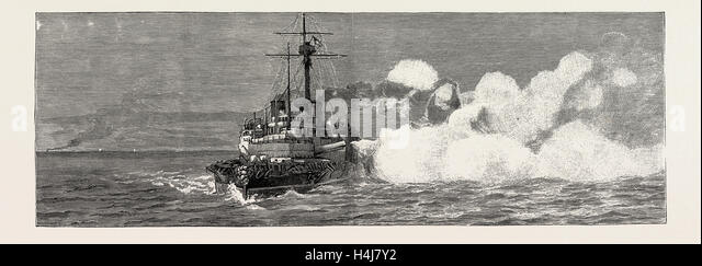 THE GUNNERY TRIALS OF THE LATEST IRONCLAD H.M.S. 'VICTORIA', 1889: FIRING ONE OF THE 110 TON GUNS FROM THE - Stock Image