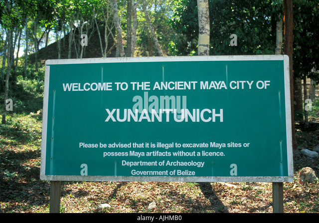 Belize Central America Xunantunich Maya Ruins Welcome Sign - Stock Image