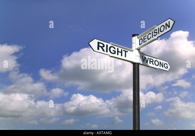 Concept image of a signpost with Decision Right or Wrong against a blue cloudy sky - Stock Image