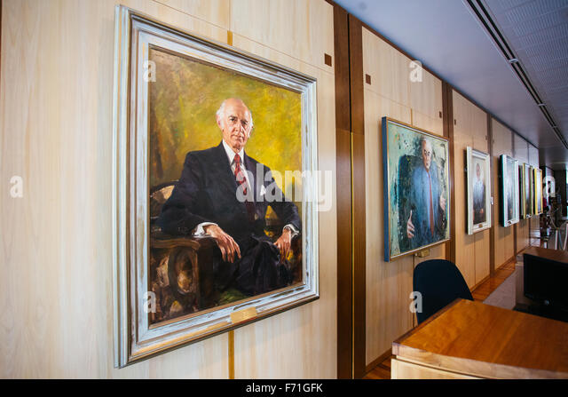 australian prime minister painting inside parliament house - Stock Image