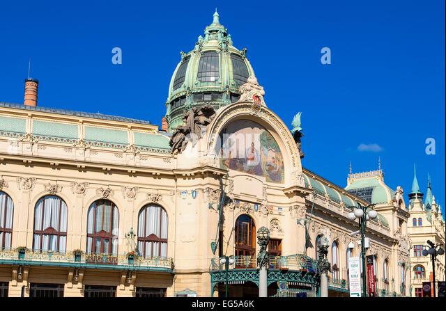 Art Nouveau Municipal House in Old Town - Stock-Bilder