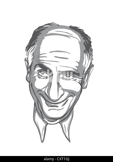 Caricature of Louis de Funes by the illustrator Torsten Becker - Stock Image