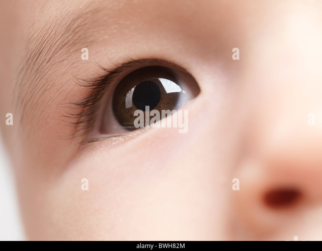 Closeup of an eye of a six month old baby boy - Stock Image