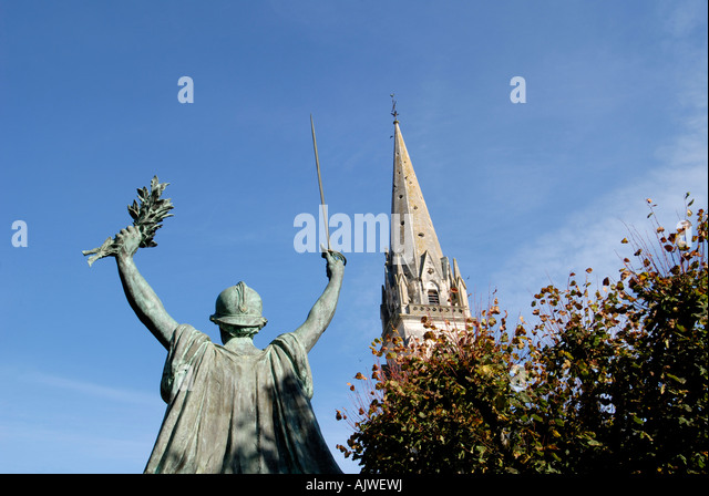 St. Martial church, Montmorilon, Vienne, France. - Stock Image