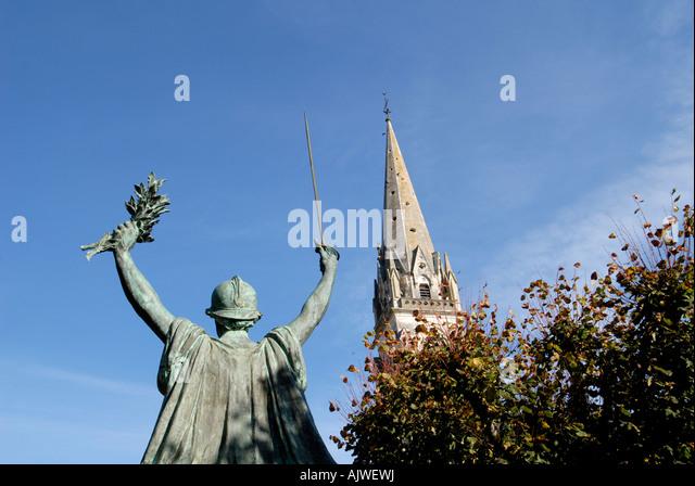 St. Martial church, Montmorilon, Vienne, France. - Stock Image