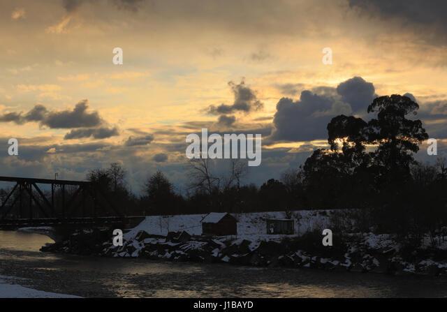 Sunset on the river Kodori, Abkhazia. - Stock Image