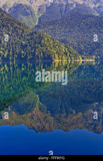 Mountain lake Ritsa, Abkhazia, Georgia - Stock Image