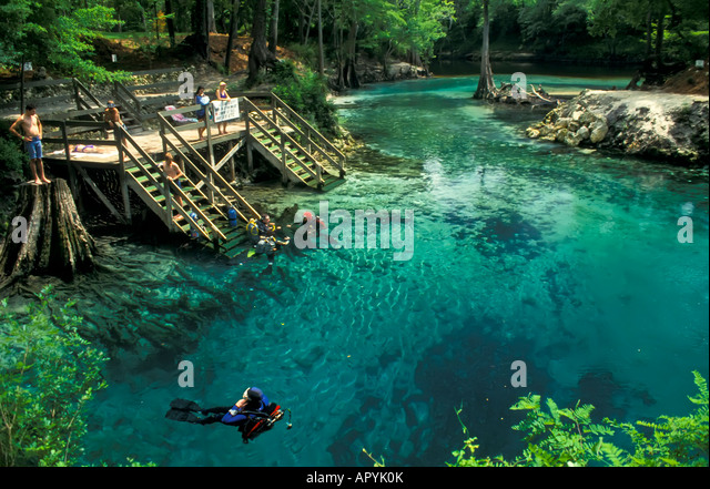 divers madison blue springs state park florida fresh water spring diving - Stock Image