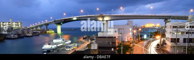 Tomari Bridge in Naha, Okinawa, Japan. - Stock-Bilder