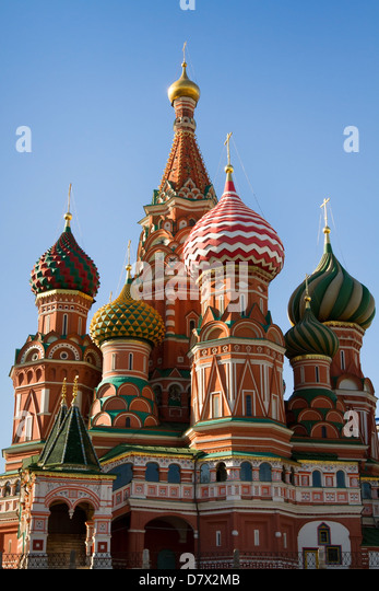 Saint Basil Cathedral in Moscow on the Red Square - Stock Image