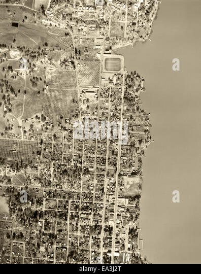 historical aerial photograph of Lakeport,CA, 1956 - Stock Image