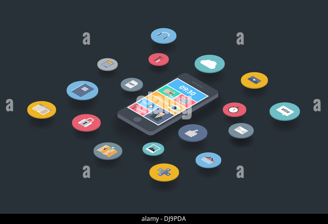 Illustration concept of variety using of smartphone with lots of multimedia icons and stylish mobile user interface - Stock Image