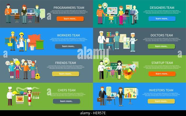 Work team people job concept flat design. Team work concept, team building, working together, team spirit, business - Stock-Bilder