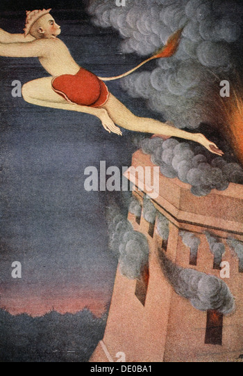 Burning of Lanka, 1913.  Artist: K Venkatappa - Stock Image