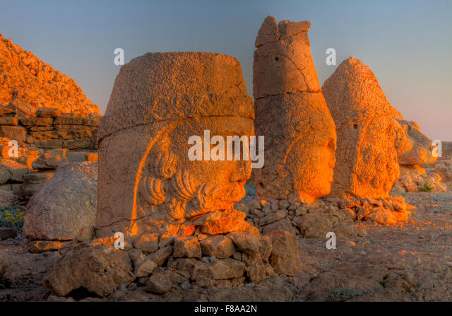 Huge sculpted heads, Mt. Nemrut National Park, Turkey, Ancient remnants of 2000 year old Commagene culture on 7,000 - Stock Image