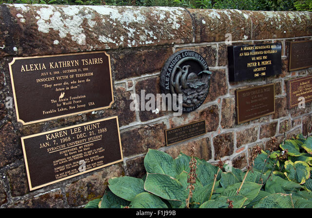 Lockerbie PanAm103 In Rememberance Memorial wall, Scotland - Stock Image