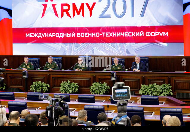 Moscow, Russia. 30th Aug, 2017. Russia's Defence Ministry Spokesman Igor Konashenkov, Russia's Deputy Defence - Stock Image