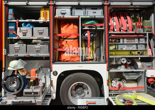 Fire Department Truck and Equipment - Stock Image