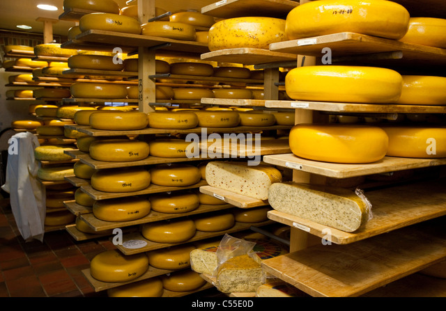 The Netherlands, Lievelde, Open air historical village, museum Erve Kots. Cheese factory and shop. - Stock Image