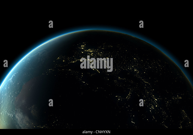 Planet earth with lights of Europe at night - Stock Image