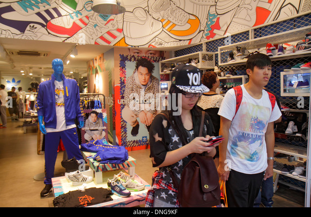Hong Kong China Kowloon Mong Kok Fa Yuen Street Sneaker Street shopping fashion athletic shoe store inside Asian - Stock Image