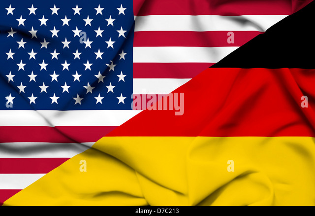United States of America and Germany waving flag - Stock Image