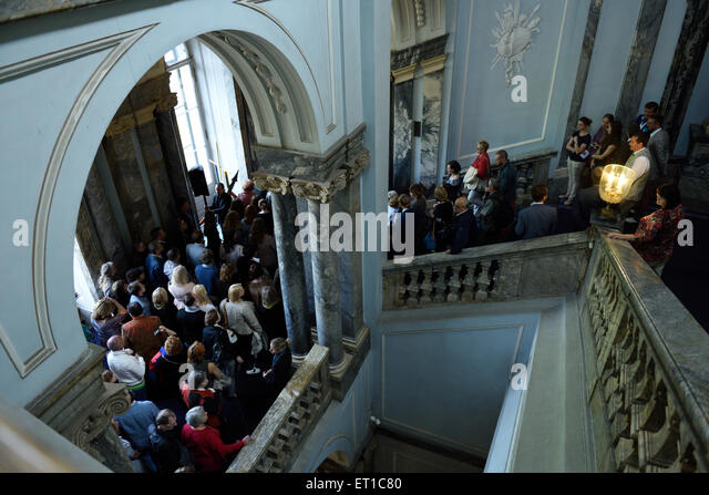 St. Petersburg, Russia, 10th June, 2015. Visitors wait for opening of the presentation of the exhibition of Antonio - Stock Image
