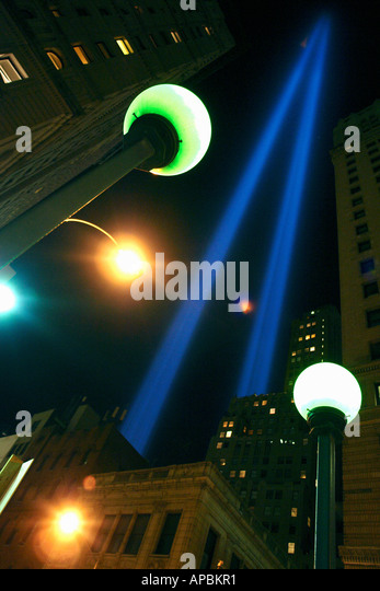 Urban Scene of Light Beams Commemorating the Fifth Anniversary of the World Trade Center Attacks September 11 2006 - Stock Image