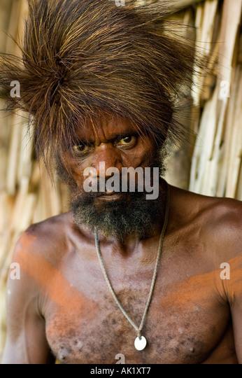 Portrait of an Asmat man, Irian Jaya Indonesia. - Stock Image