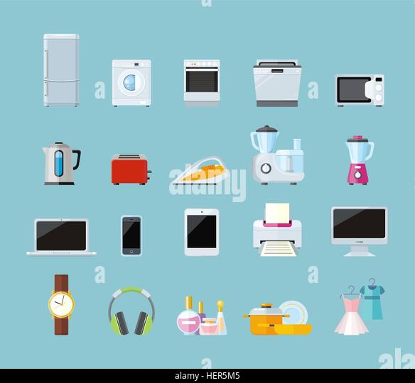 Set of household appliances design flat. Appliances household, household items, washing machine, kitchen appliances, - Stock-Bilder