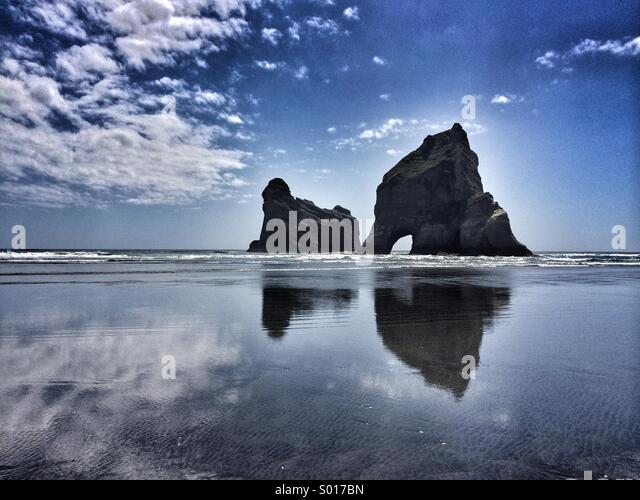 Stunning rocks on Wharariki beach, Abel Tasman National Park, New Zealand. - Stock Image