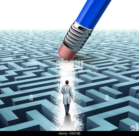 Medical leadership health care concept as a doctor or scientist walking through a maze that has been erased by a - Stock Image